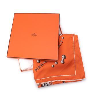 Hermes Orange Vif Argent  Silk Twill Scarf 90