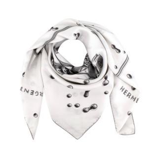 Hermes Ivory Vif Argent Silk Twill Scarf 90