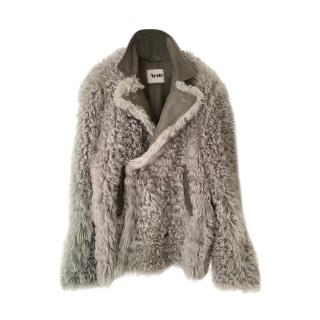 Acne Grey Shearling & Leather Oversize Coat
