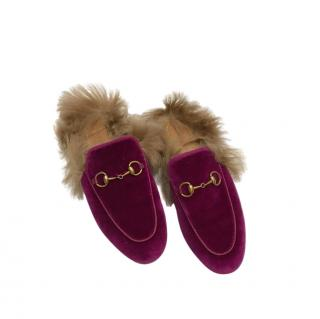 Gucci Purple Velvet Fur Lined Princetown Slippers