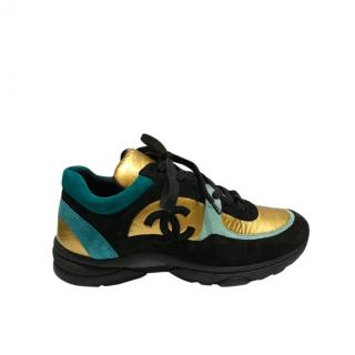 Chanel Gold, Teal & Black Suede/Leather CC Sneakers