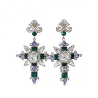 Dolce & Gabbana Crystal Embellished Cross Drop Earrings