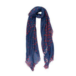 Louis Vuitton Bicolour Blue & Red Leopard Print Silk Cashmere Stole