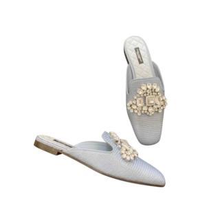 Dolce & Gabbana Iguana Embossed Crystal Embellished Flat Mules