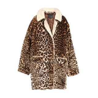 R13 Faux Fur Leopard Oversize Coat