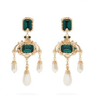 Dolce & Gabbana Green Crystal And Faux-pearl Drop Earrings