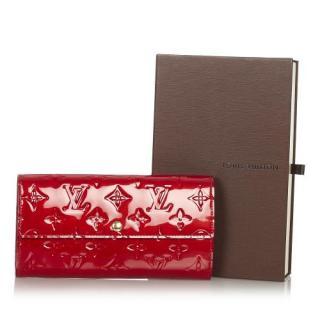 Louis Vuitton Red Vernis Leather Sarah Wallet