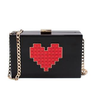 Les Petits Joueurs Grace Lolita Black & Red Lego Heart Clutch