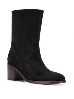 A.P.C Black Eva Suede Heeled Ankle Boots