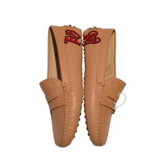 Tod's Love Patch Applique Tan Loafers