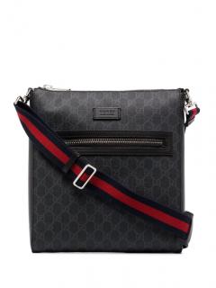 Gucci Small Black Supreme Monogram Small Messenger Crossbody Bag