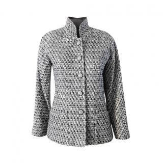 Chanel Black & White Tweed High Neck Jacket