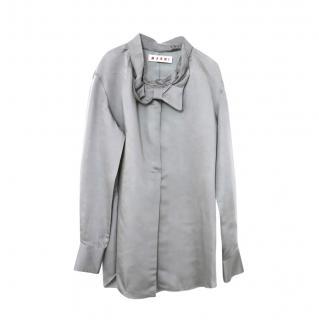 Marni Grey Silk Blend Bow Detail Silk Blouse