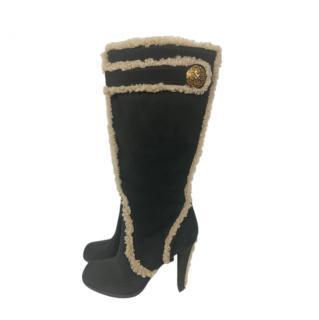 Louis Vuitton Black Shearling Trim Knee Boots