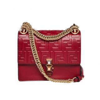 Fendi Red Embossed Leather Kan I Shoulder Bag