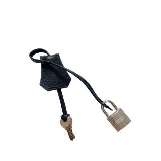 Hermes Black Togo Leather Clochette, Lock & Keys