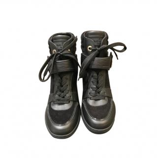 Louis Vuitton Black Leather & Suede High Tops