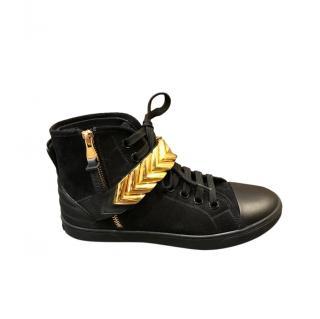 Louis Vuitton Black & Gold Suede High Tops