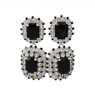 Dolce & Gabbana Black & Silver Crystal Clip-On Earrings