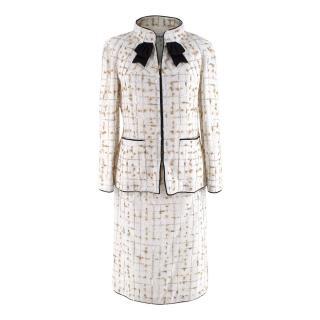 Chanel White & Metallic Gold Embellished Jacket & Pencil Skirt Suit
