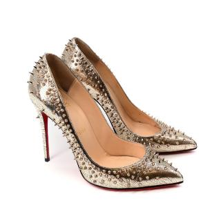 Christian Louboutin Spike Pigalle Metallic Gold Leather Pumps