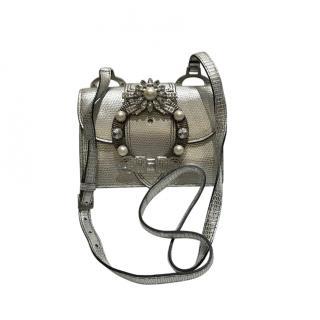 Miu Miu Silver Embossed Leather Saint Lucertola Crossbody Bag