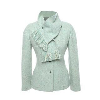 Chanel Mint Green Tweed Jacket & Scarf