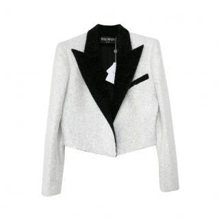 Balmain Black & White Sequin Chenille Crop Blazer