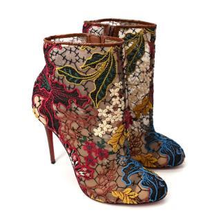 Christian Louboutin Miss Tennis Floral Embroidered Lace Bootie