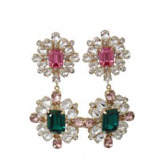 Dolce & Gabbana Green & Pink Crystal Drop Earrings