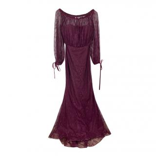 Badgley Mischa Burgundy Lace Off Shoulder Gown