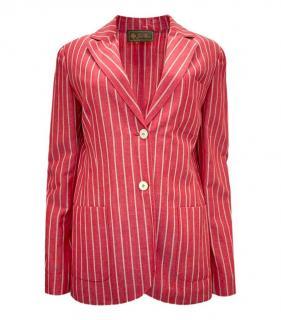 Loro Piana Red Striped Virgin Wool & Linen Jacket