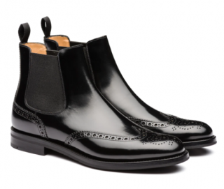 Church's Polished Black Leather Binder Brogue Chelsea Boots