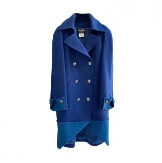 Chanel globalisation collection blue wool double breasted coat