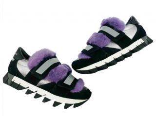 Dolce & Gabbana Rabbit Fur Trim Sneakers