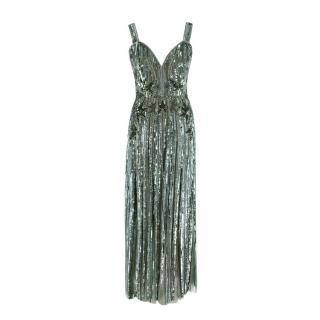 Elie Saab Teal Green Stars Sequin, Bead & Tulle Evening Dress