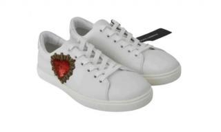 Dolce & Gabbana White Heart Applique Sneakers