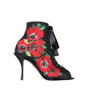 Dolce & Gabbana black 90 floral print lace-up stretch Booties