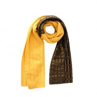 Sportmax Black & Yellow Cashmere Knit Scarf