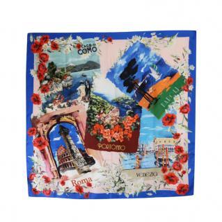 Dolce & Gabbana Blue Floral Postcards Print Scarf