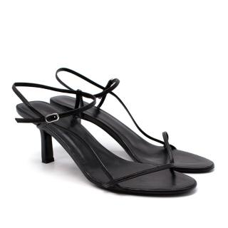 The Row Bare Black Leather Heeled Sandals