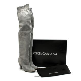Dolce & Gabbana Grey Suede Heeled OTK Boots