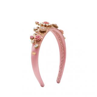 Dolce & Gabbana Pink Satin Embellished Headband