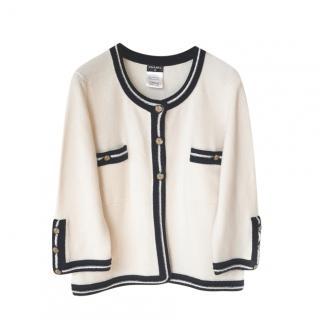 Chanel Ecru & Navy Cashmere Knit Cardigan