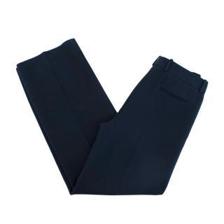Loro Piana Silk & Wool Navy Wide Leg Trousers