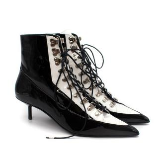 Marques'Almeida White & Black Patent Leather Heeled Lace-Up Boots