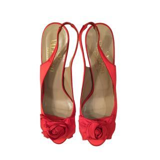 Valentino Red Floral Satin Slingbacks