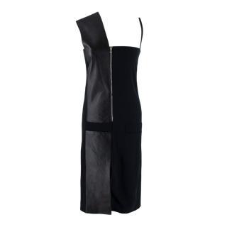 Atto Black Crepe & Leather Asymmetric Zip Up Dress