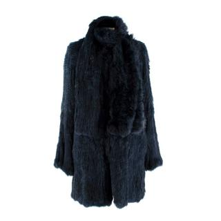 Max & Moi Navy Blue Rabbit Fur Coat With Matching Scarf