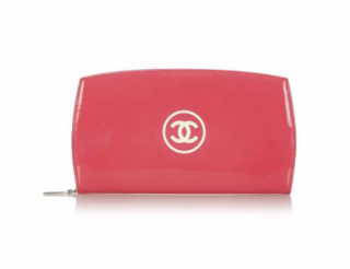 Chanel Pink Patent Leather CC Logo Zip Around Long Wallet
